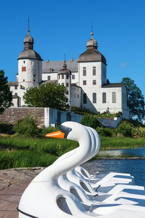 Swans pedal boats on the beach at Lacko Castle, Kallandso, Sweden
