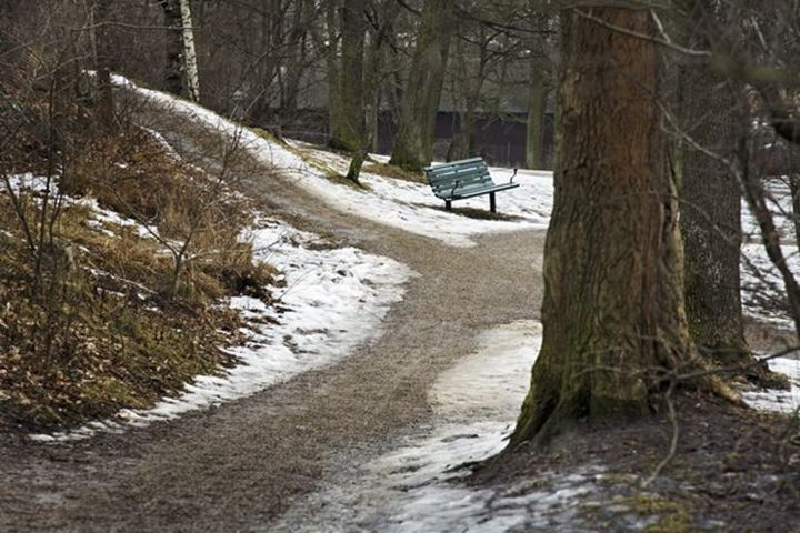 It is spring. A green bench in the park. The snow is fading away from the paths.