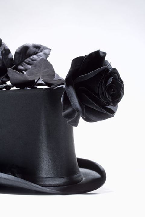 Black Top Hat and Black Rose - Isolated on White