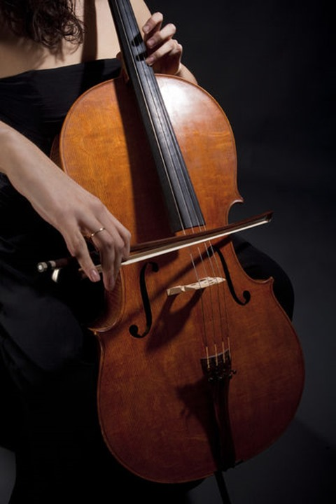 Closeup of a Female Musician Playing Violoncello