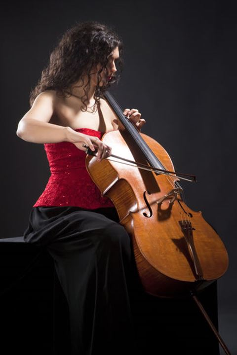 Young Woman in Red Top Playing Violoncello