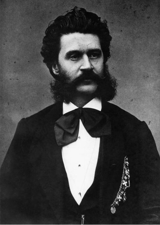 A historic photograph of Johann Strauss the Younger, famous Austrian composer.