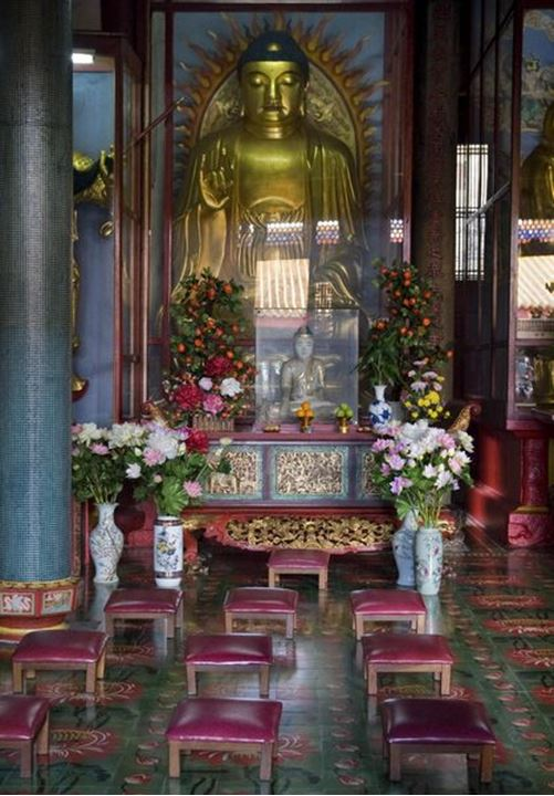 A Buddhist altar, the Kek Lok Si temple in Penang, Malaysia