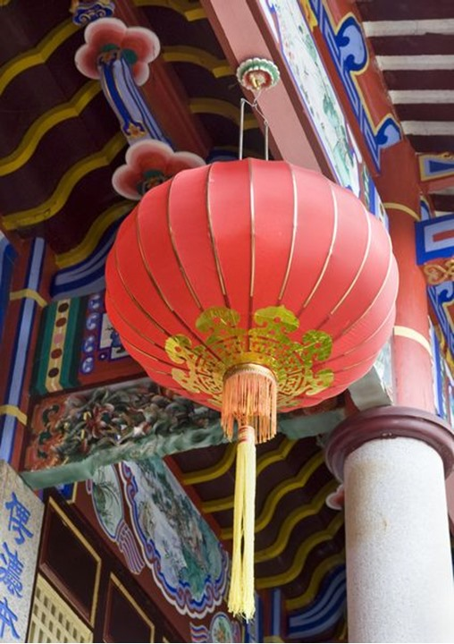 A red china lamp in the Kek Lok Si temple in Penang, Malaysia