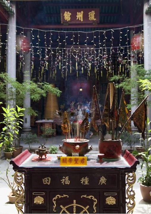 A Chinese altar in a Buddhist temple in Georgetown, Penang, Malaysia