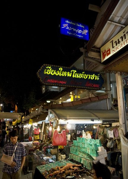 Night shoot over the night bazaar in Chiang Mai, northern Thailand