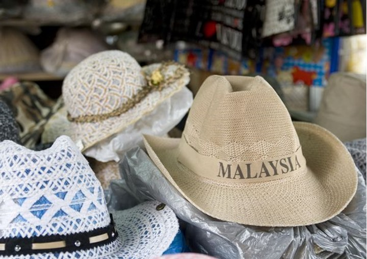 """A hat with the text """"Malaysia"""" in a market in Penang, Malaysia"""