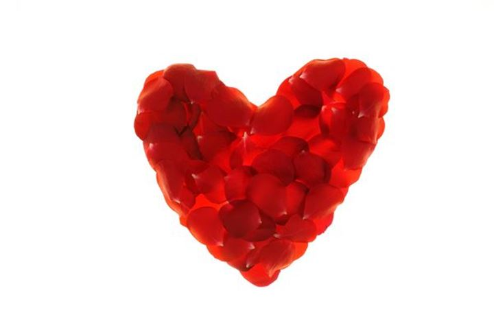 A red heart made of roses
