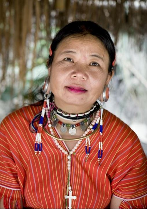 A woman with big piercing, from the hill tribes of northern Thailand
