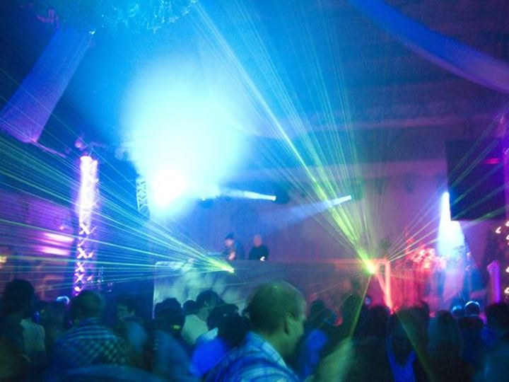 Lasers and smoke on dance floor, Sundsvall, Sweden