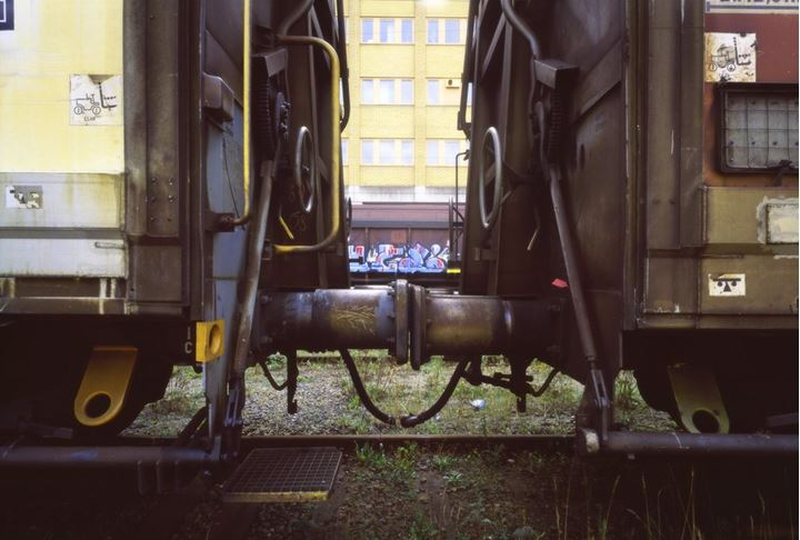 Trainset, wagons meet in the freeport area of Stockholm Sweden