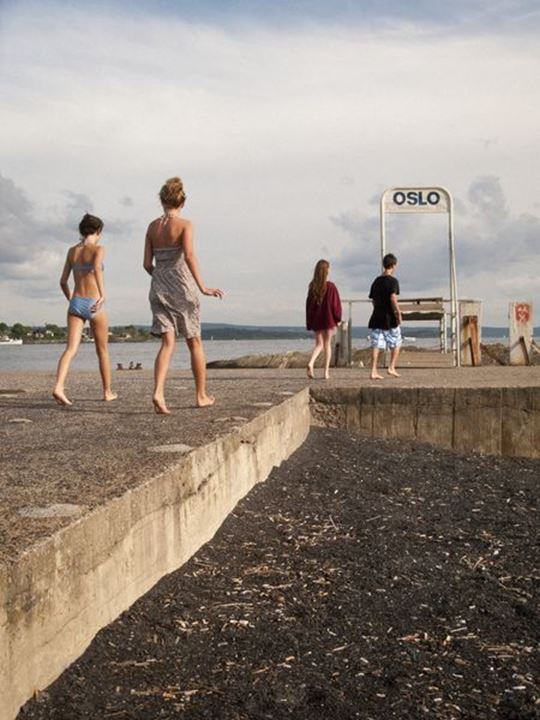 Teenagers going for a swim, Oslo, Norway