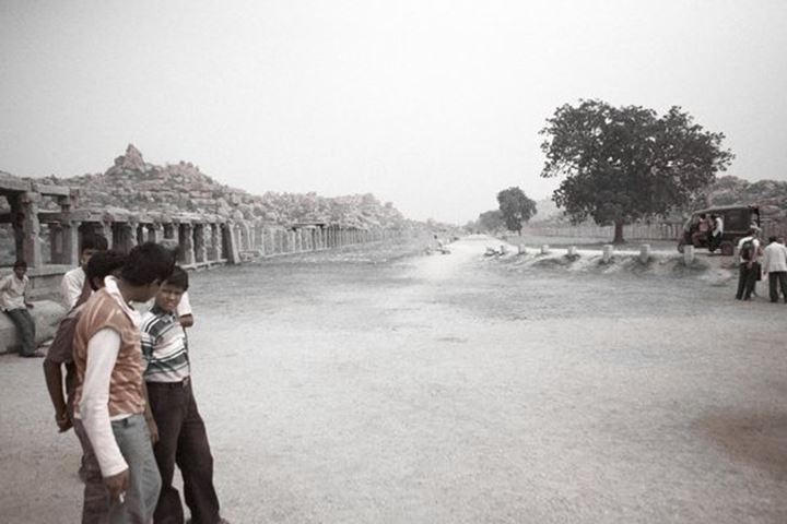 Indian boys at temple seight, Hampi, India