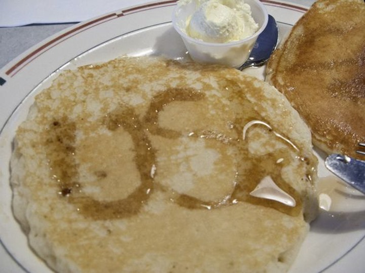 Pancakes with USA written on them, California, USA