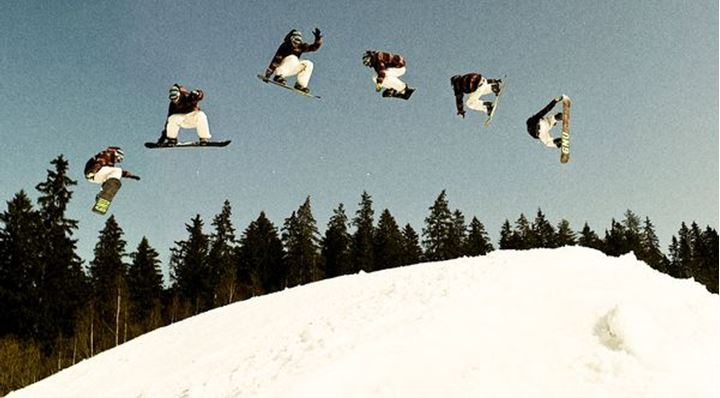Multiply exposures of snowboarder in one pictures, Sundsvall, Sweden