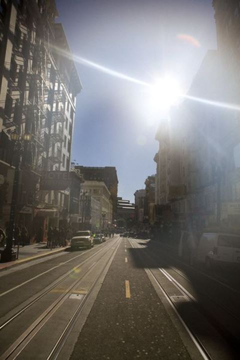View between two buildings, San Fransisco, Californa, USA