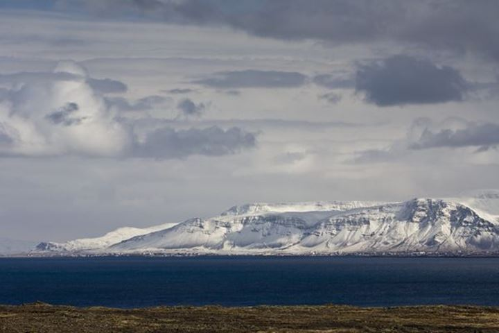 Mt. Esja and Reykjavik.  Seen from the Southern Peninsula (Reykjanes), Iceland.