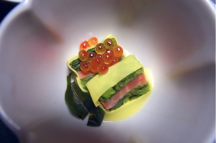 Overhead view of Japanese sushi food