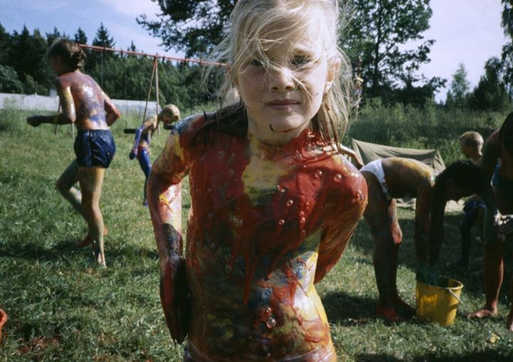 Girl covered in paint, Sweden