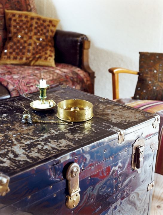 Old trunk serving as coffeetable