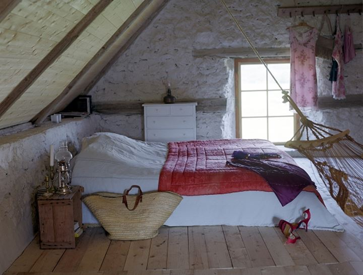 Bedroom in the attic. Gotland, Sweden