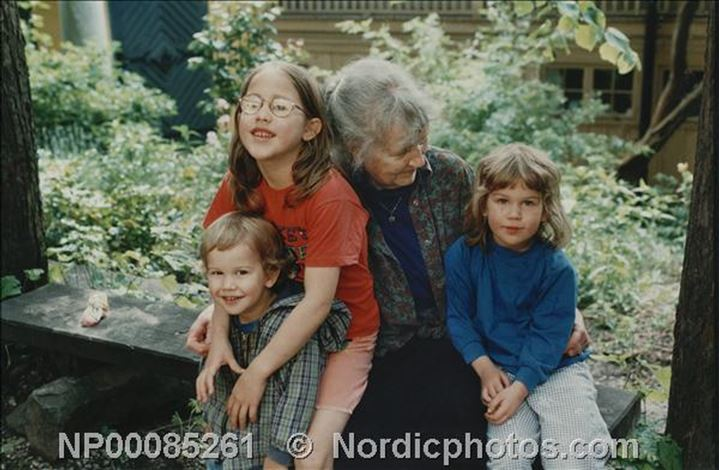 Grandmother with grandchildren in Stockholm