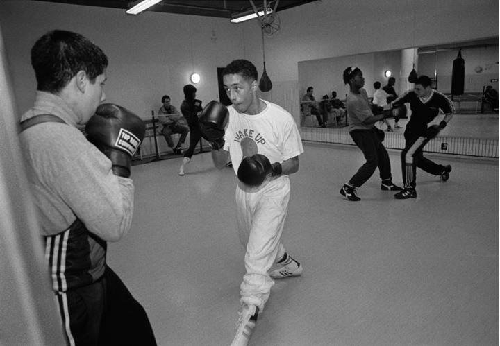 Young boys training boxing in Rinkeby