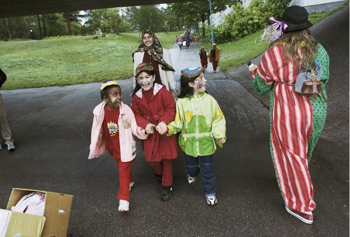 Clown and children in festival in Rinkeby