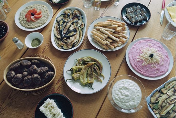 A table of various, Turkish dishes