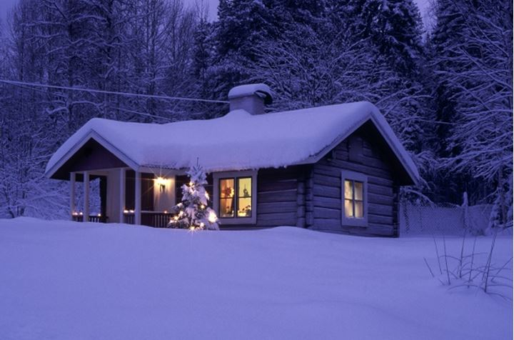 Snowy house and Christmas tree on a meadow