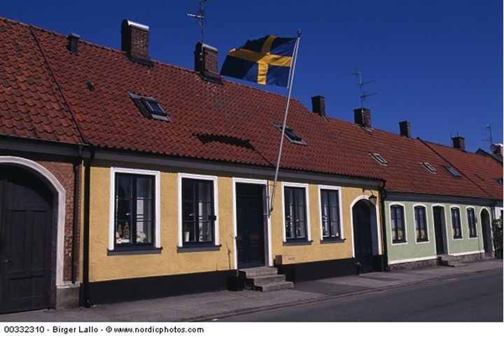 Houses and a fluttering Swedish flag against blue sky