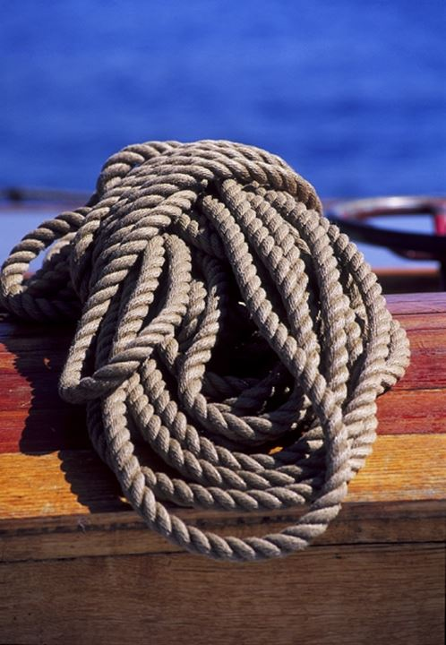 Close up view of a bunch of rope