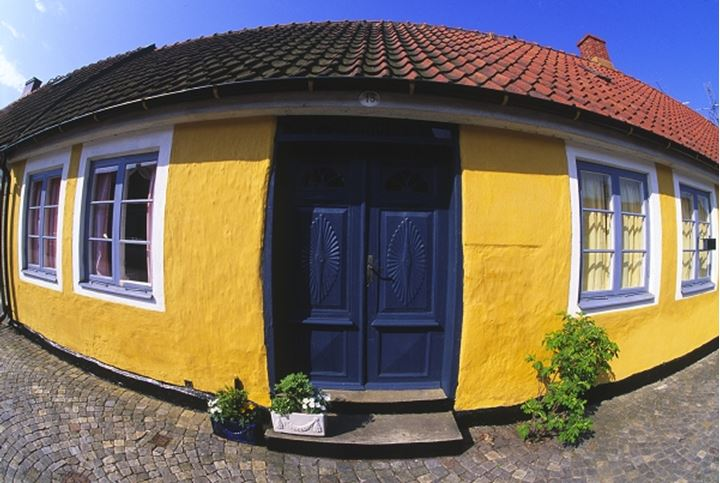 Fish eye view of the facade of a yellow house with potted plants kept on the threshold