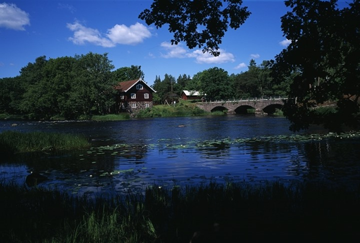 Homes surrounded by trees with bridge and river in the foreground
