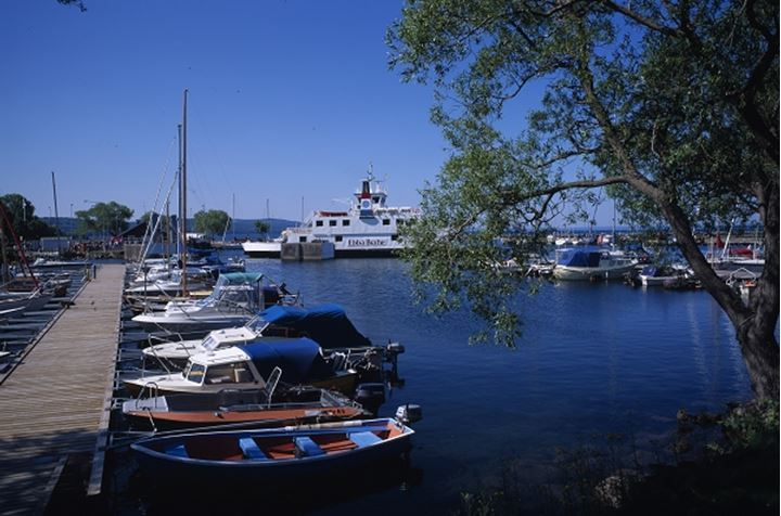 Harbour with boats, dock and ship