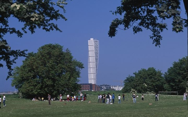 People in a park by Turning Torso at Malmoe, Sweden