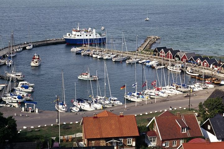 High angle view of harbour with houses and sailboats