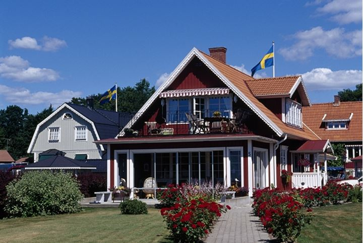 Homes with Swedish flags and garden