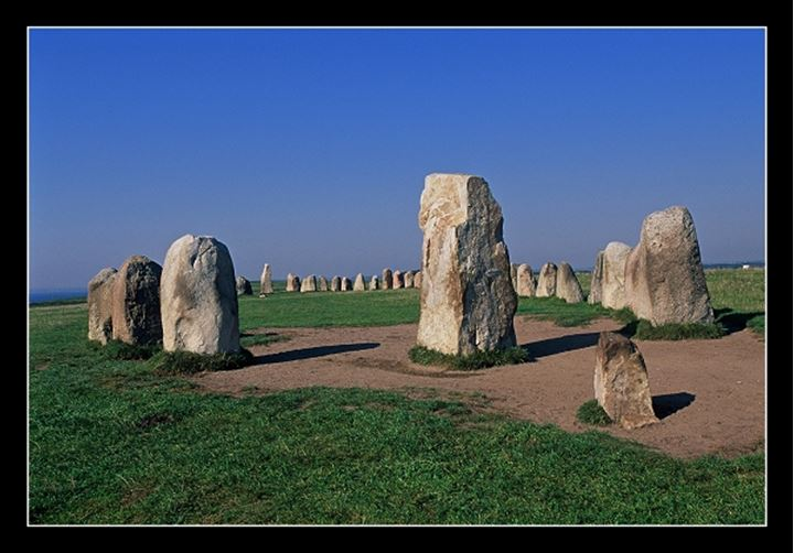 Standing stones with blue sky