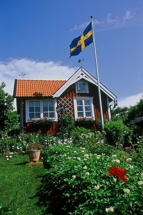A red cottage with Swedish flag and flower bed