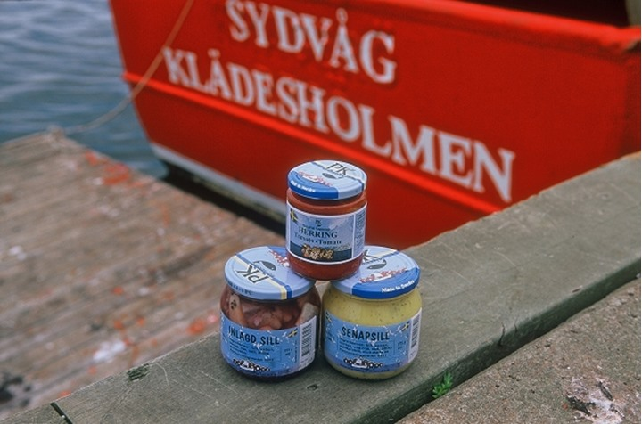 Three food jars with boat