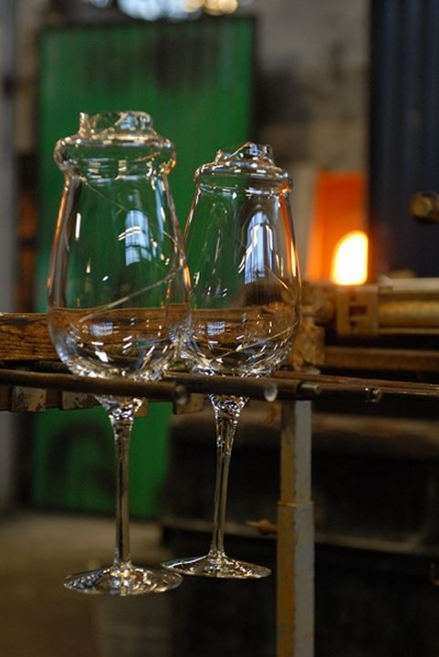 Close up view of two glasses in the manufacturing plant