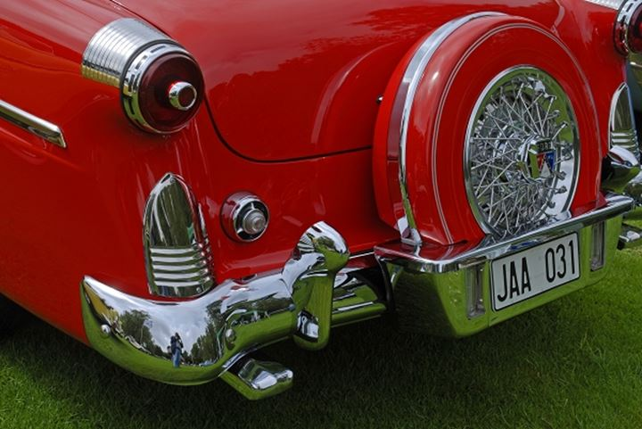 Closeup of a red oldtimer back