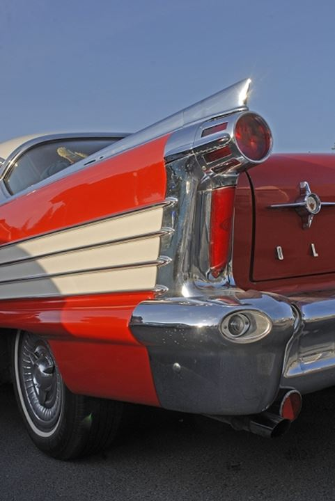 Closeup of a red oldtimer car