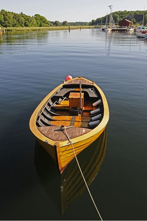 Boat moored in the sea, Sweden