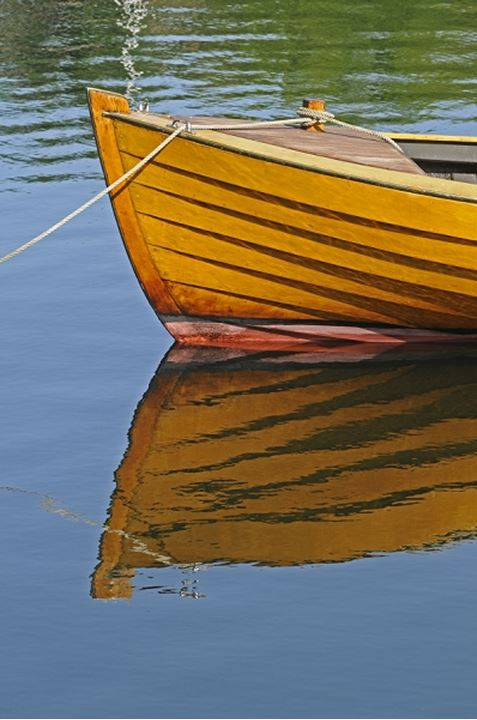 Reflection of a boat in water, Sweden
