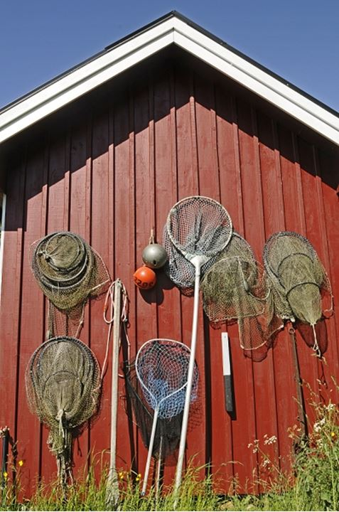 Fishing equipments hanging on the wall of a fishing hut