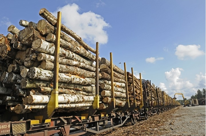 Lumber ready for transport by rail, Sweden.