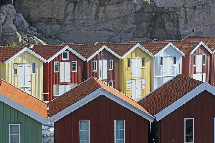 Rows of boathouses, Bohuslan, Sweden.