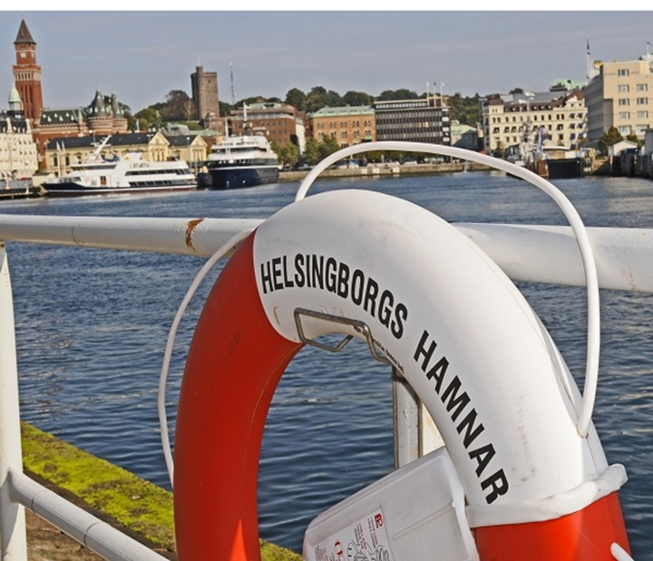A life ring and view from Helsingborg's harbour, Sweden.